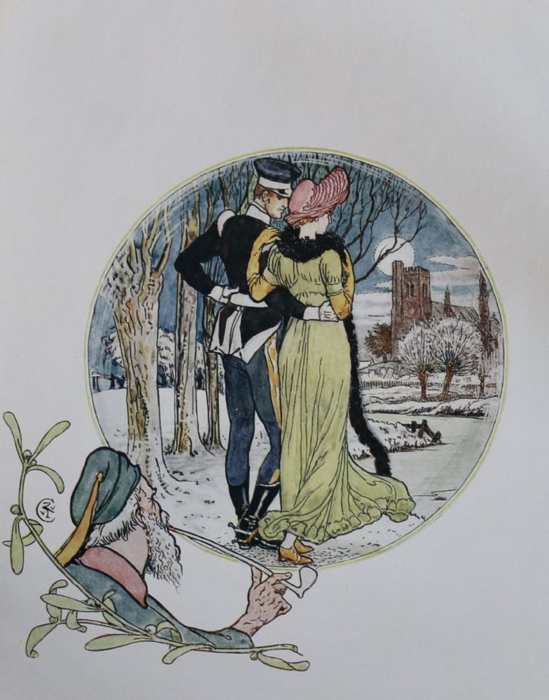 Original 1909 Colour Plates by Walter Crane Man featuring an officer and lady in the winter